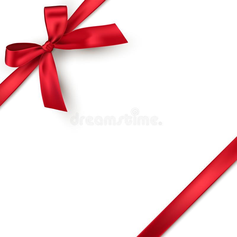 Red realistic gift bow with ribbon isolated on white background. Vector holiday design element for banner, greeting card royalty free illustration