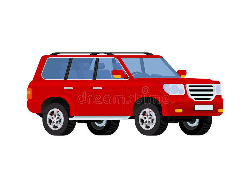 Red realistic powerful SUV car royalty free illustration