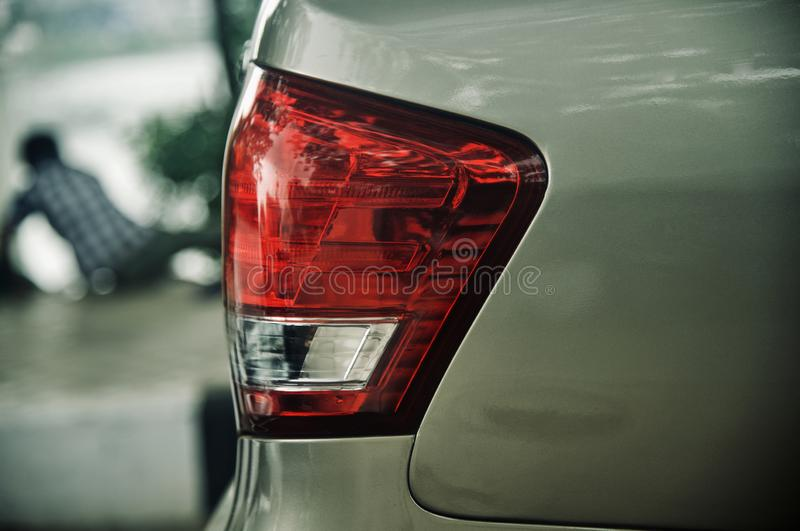 Red rear brake lights of a car unique photo royalty free stock photo