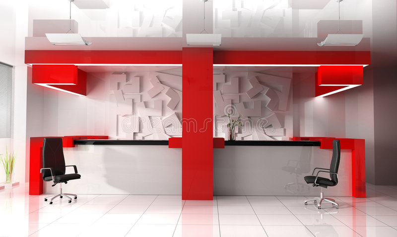 Download Red Reception In Modern Hotel Stock Photo - Image: 4947910