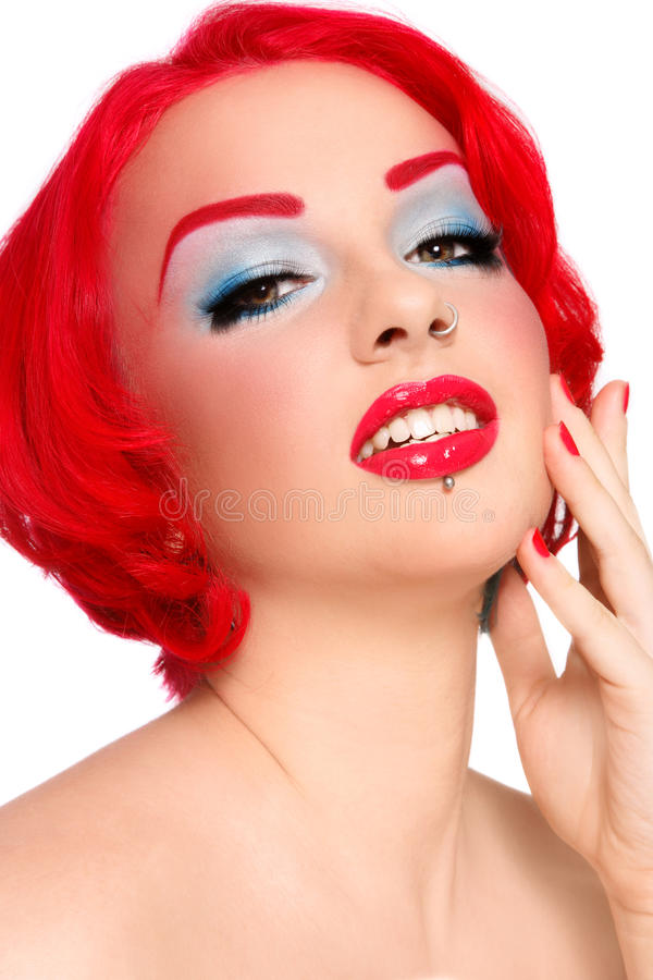 Red redhead stock image