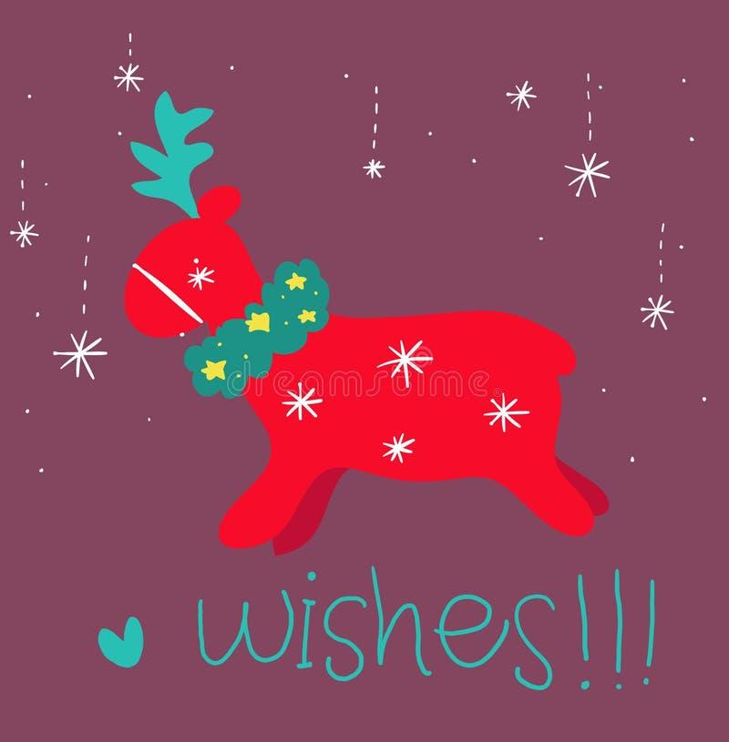 Download Red Reindeer Greetings Card Stock Illustration - Image: 28220746