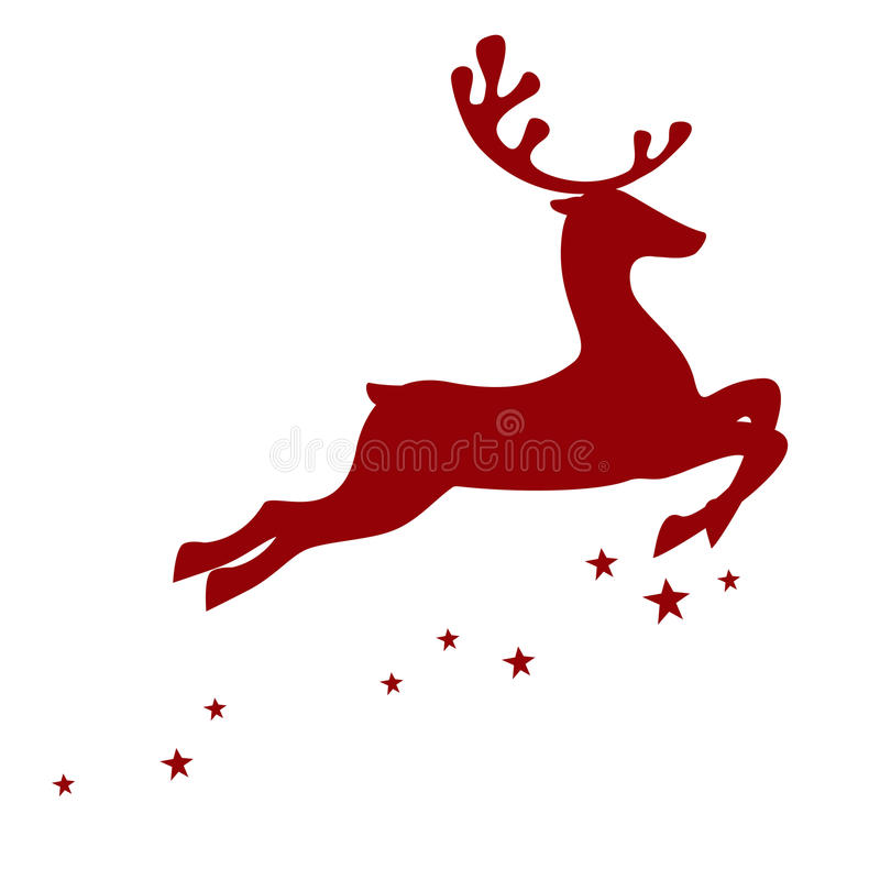 Red reindeer isolated on white background stock illustration