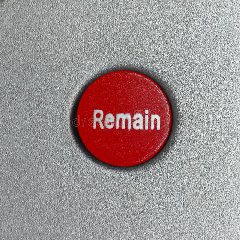 Red Remain button (Brexit. Red Remain button. All current polls show that the British would vote remain, should a new referendum called people's vote occur to royalty free stock photography