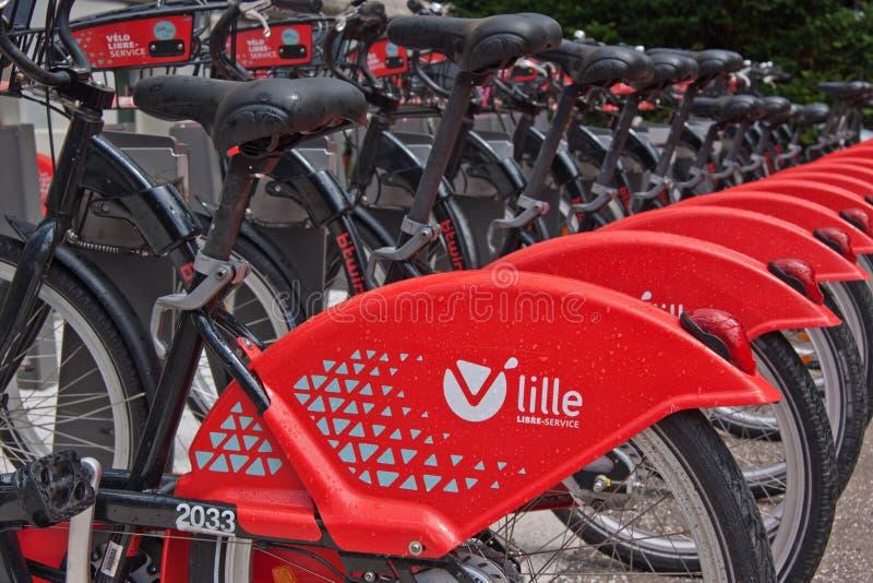 Red Rental Cycle Fleet stock photos