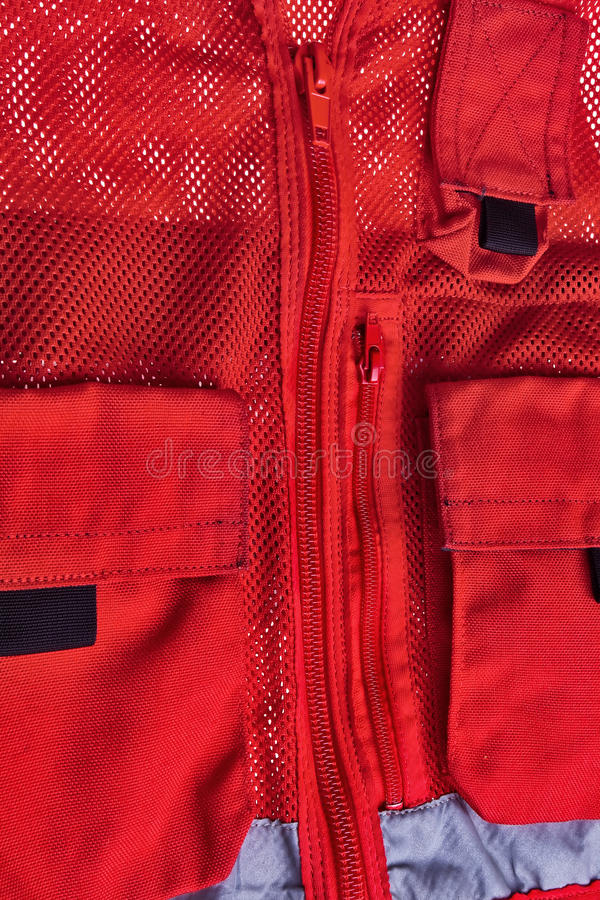 Download Red rescue vest. stock photo. Image of pattern, zipper - 12927986