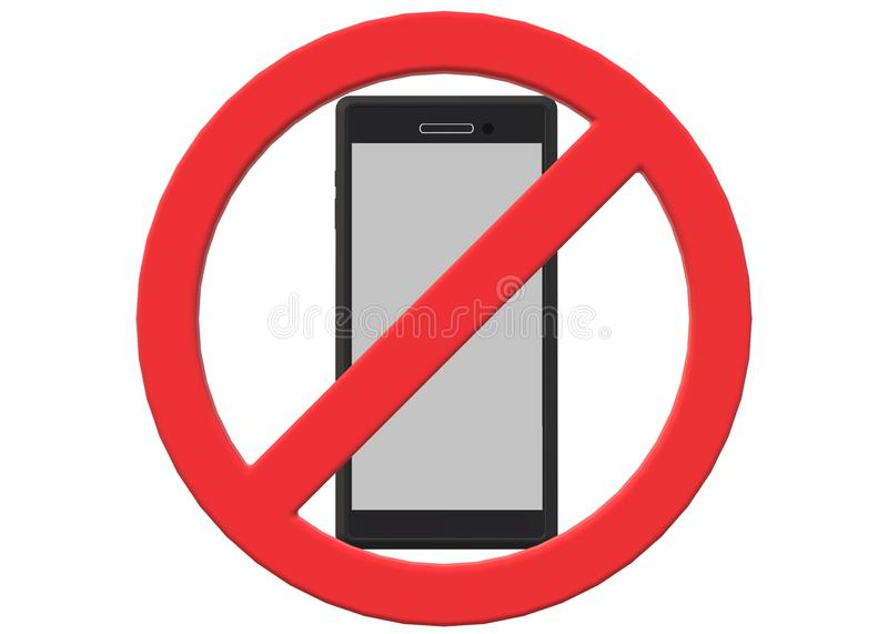 A red restricted sign over a black cover smartphone device. A computer generated illustration image of a red restricted sign over a black cover smartphone device royalty free illustration