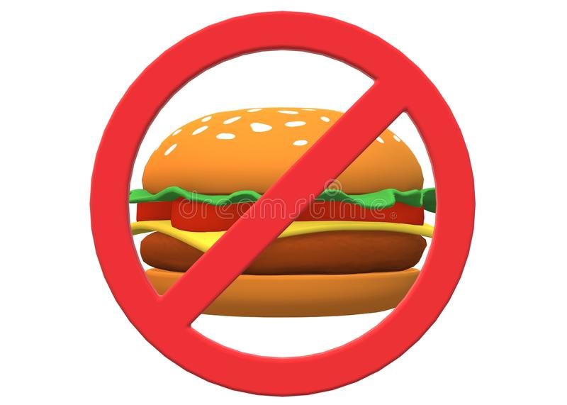 A red restricted sign over a hamburger fast food. A computer generated illustration image of a red restricted sign over a hamburger fast food against a white royalty free illustration