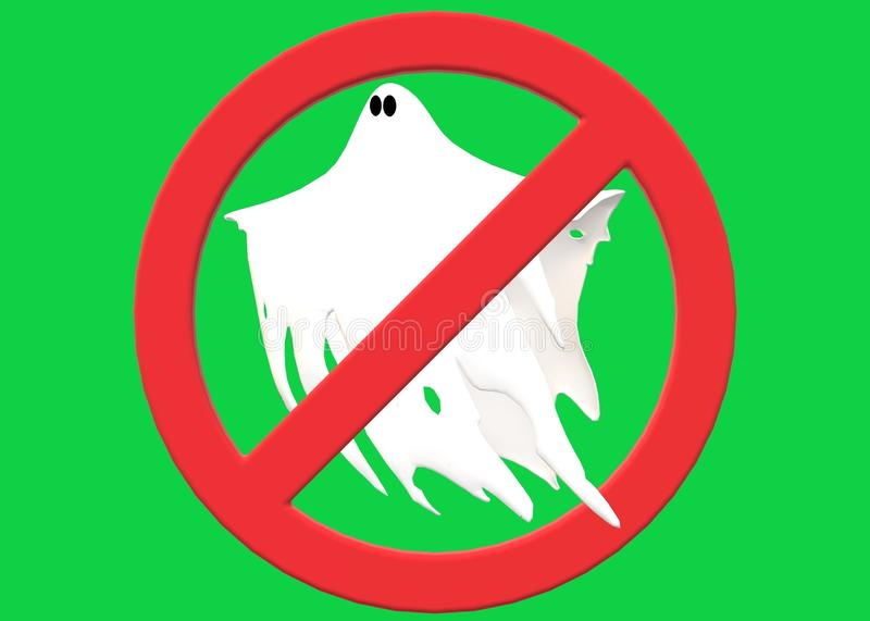 A red restricted sign over a white ghost apparition. A computer generated illustration image of a red restricted sign over a white ghost apparition against a royalty free illustration