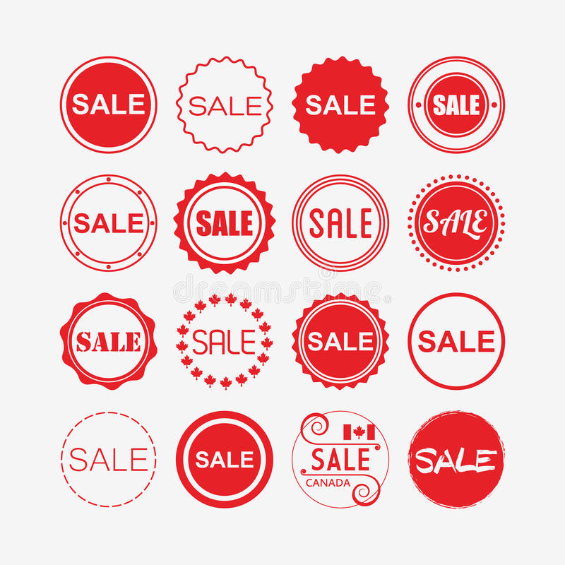 Red retail and shopping SALE tags icons set stock illustration