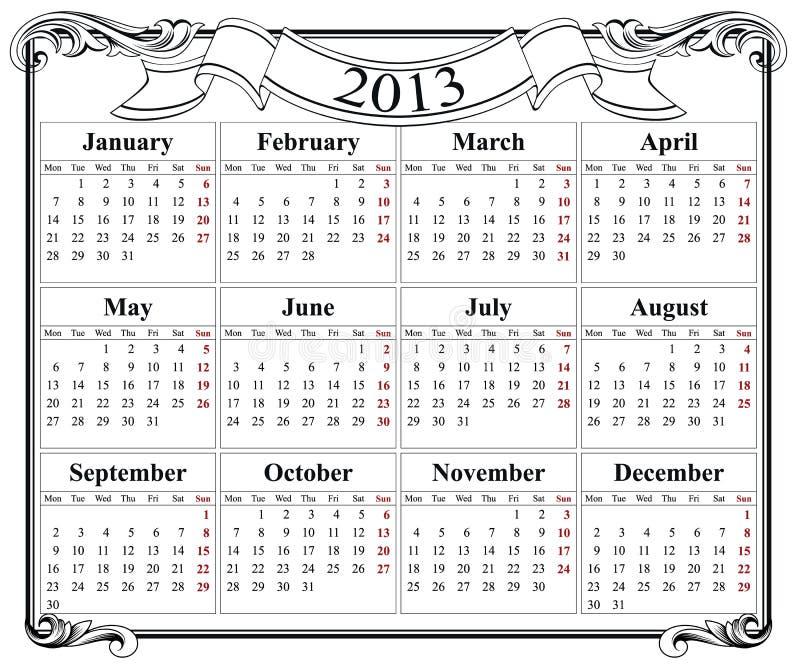 red retra del calendario 2013 ilustración del vector