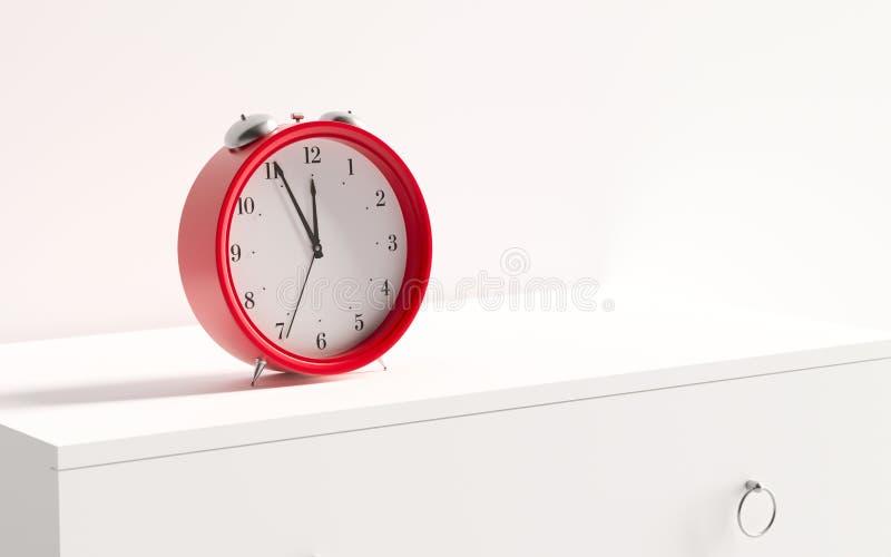 Red retro alarm clock on table on white wall background. 3d render. 3d illustration vector illustration