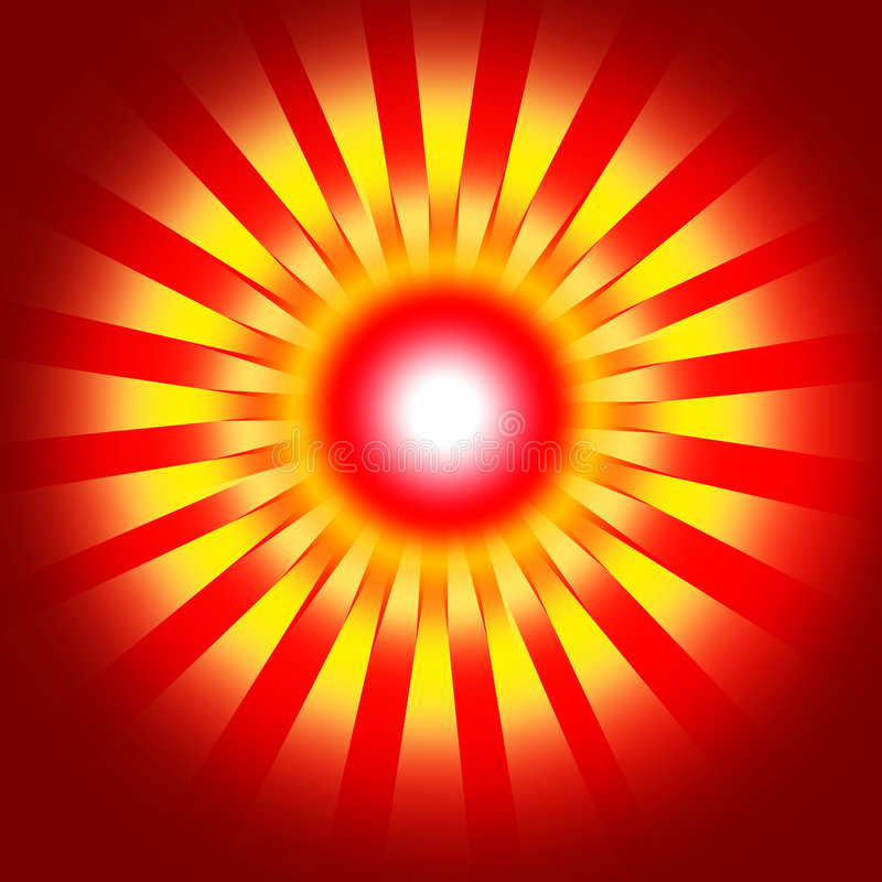 Red retro background. With yellow - and white blurs round dot stock illustration
