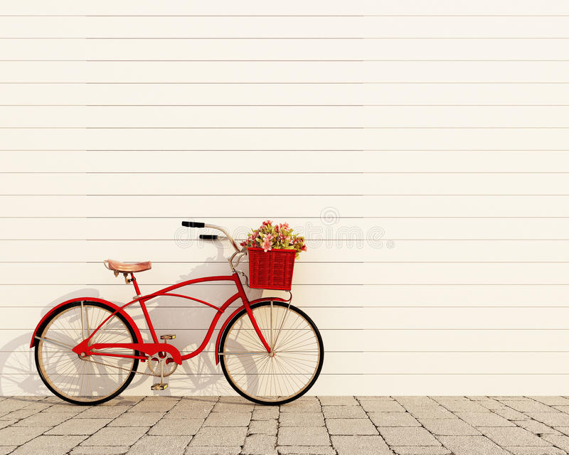 Red retro bicycle with basket and flowers in front of the white wall, background royalty free illustration