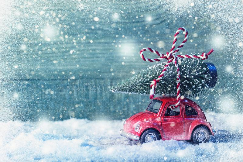 Download Red retro car stock photo. Image of copy, gift, xmas - 106762960