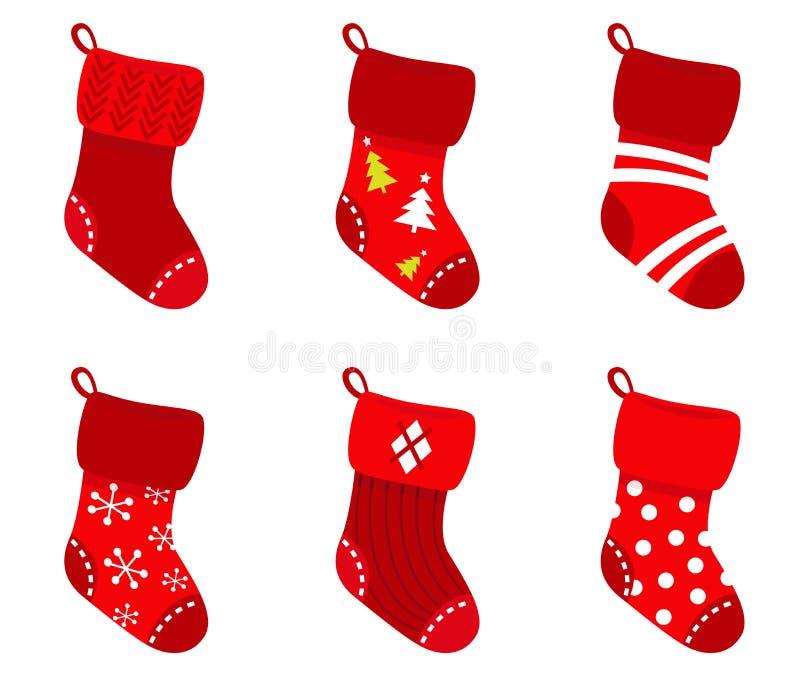 Red retro Christmas Socks collection. vector illustration