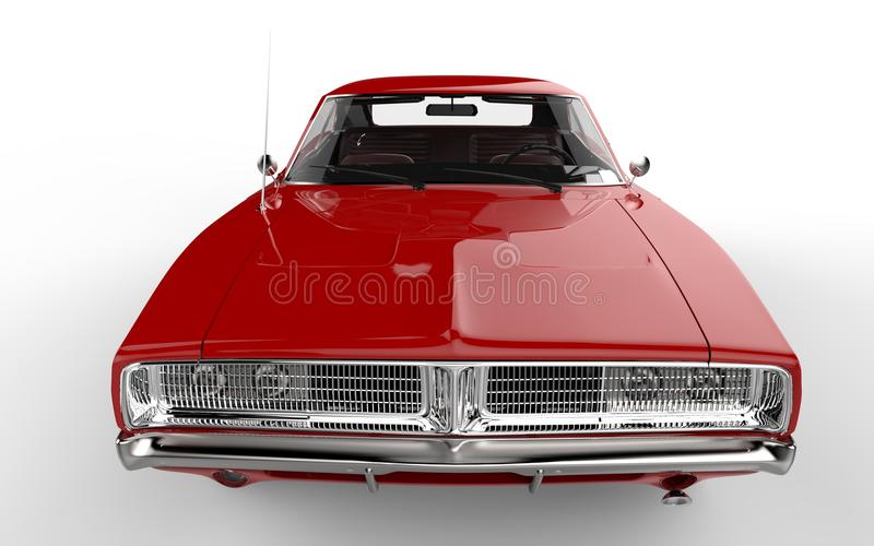 Red retro muscle car royalty free stock photo