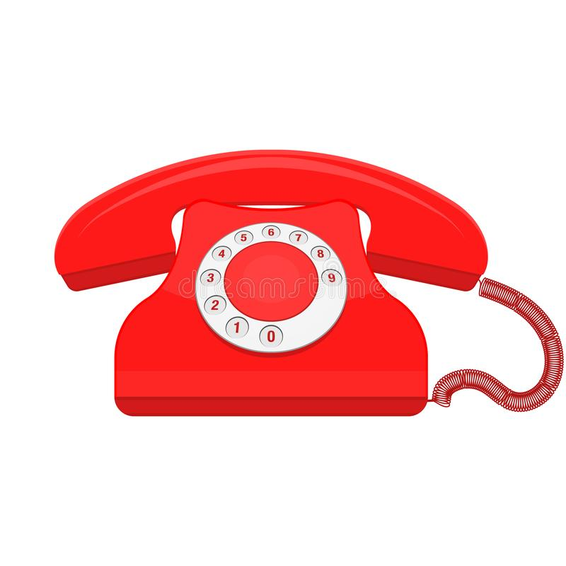 Red retro old phone telephone vector vector illustration