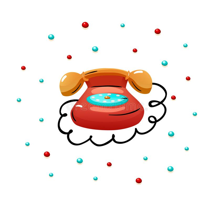 Red retro phone vector illustration isolated print stock illustration