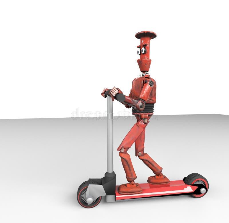 Red retro robot on scooter,3d,render vector illustration