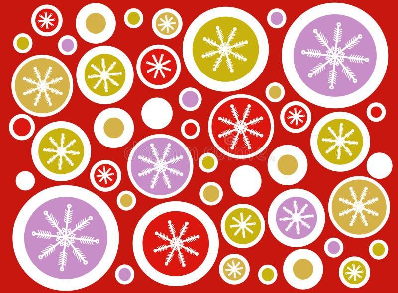 Red Retro Snowflake Circles Background royalty free stock photos