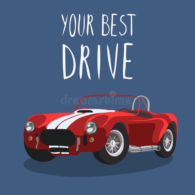 Red retro sport car . Vector illustration. Cartoon car royalty free stock image