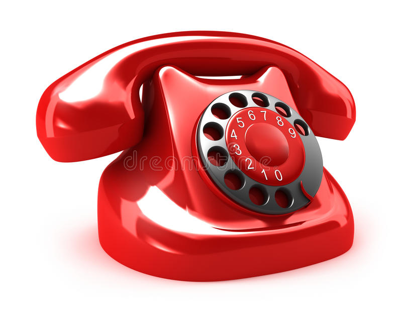 Red retro telephone, on white royalty free illustration