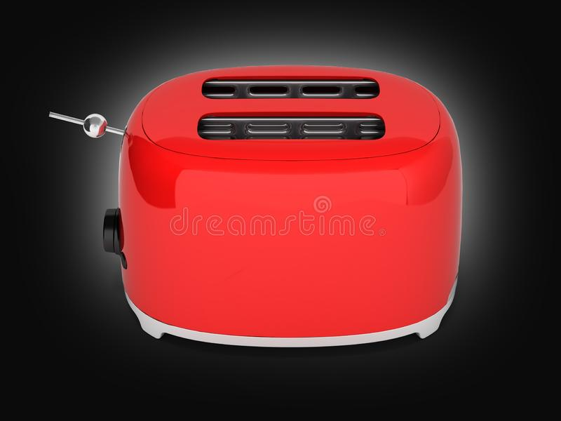 Red retro toaster on black gradient background 3d royalty free illustration