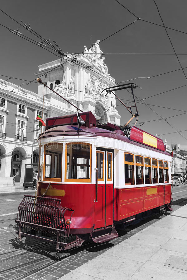 Red retro tram Commerce Square in Lisbon royalty free stock image