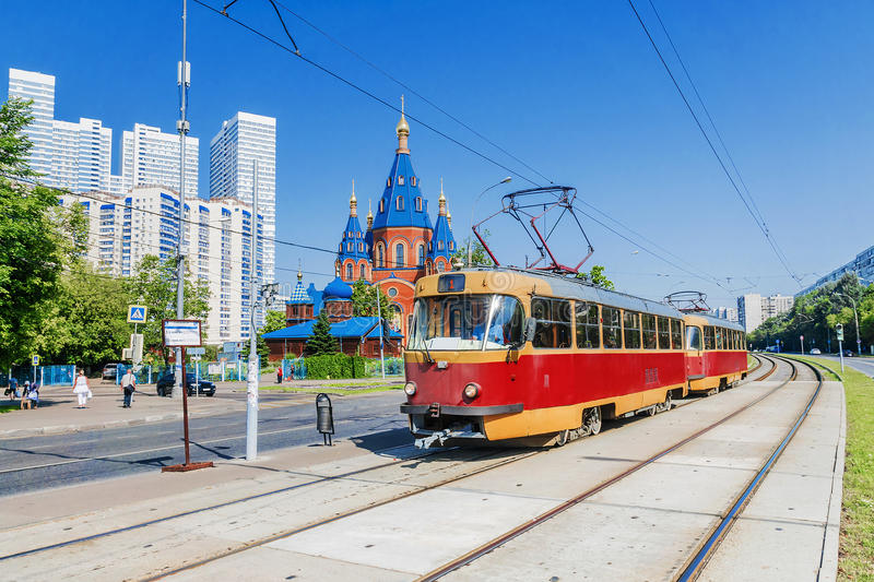 Red retro tram in Moscow stock photography