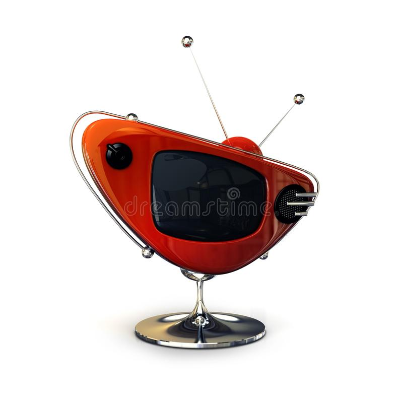 Red retro tv-set stock image