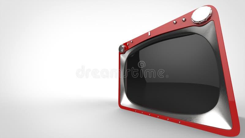 Red retro TV set - wide angle closeup shot. On white background royalty free illustration