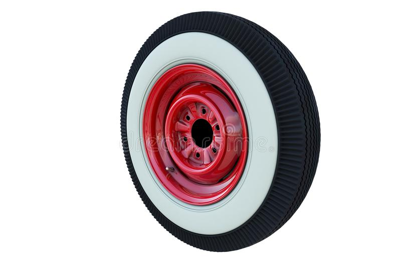Red retro wheel. 3D render royalty free illustration