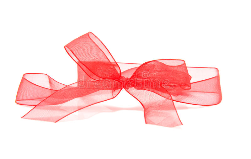 Red ribbon. Isolated on white background stock photos