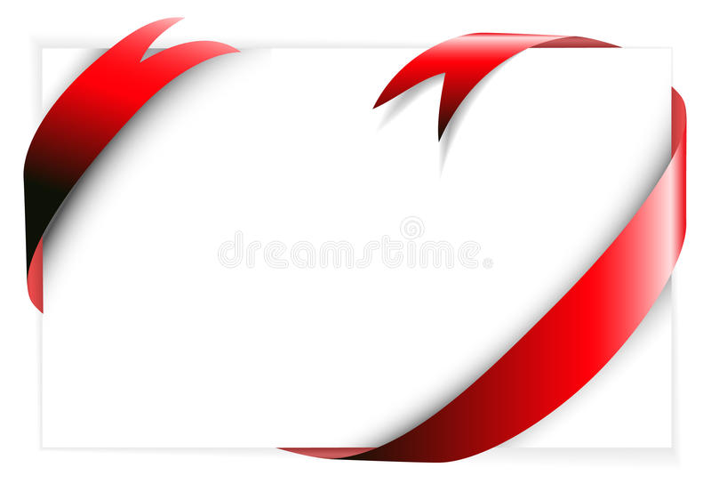 Red ribbon around blank white paper. (where you should write your text vector illustration
