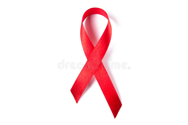 Red ribbon as symbol of aids awareness isolated on white. Background stock photo