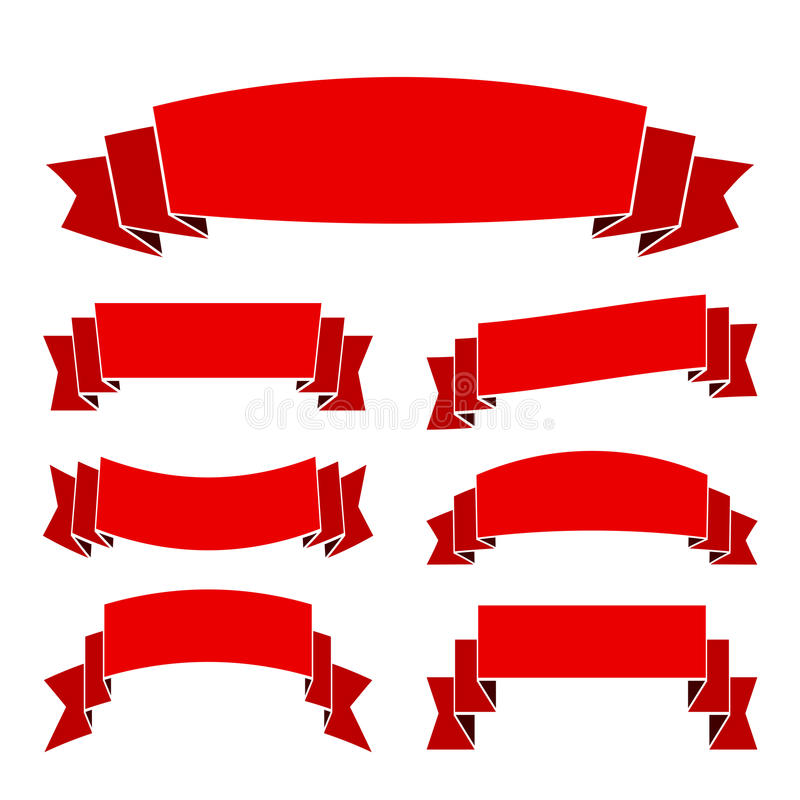 Red ribbon blank set banners old style vector illustration