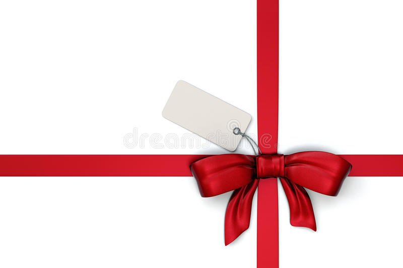 Red ribbon with blank tag vector illustration