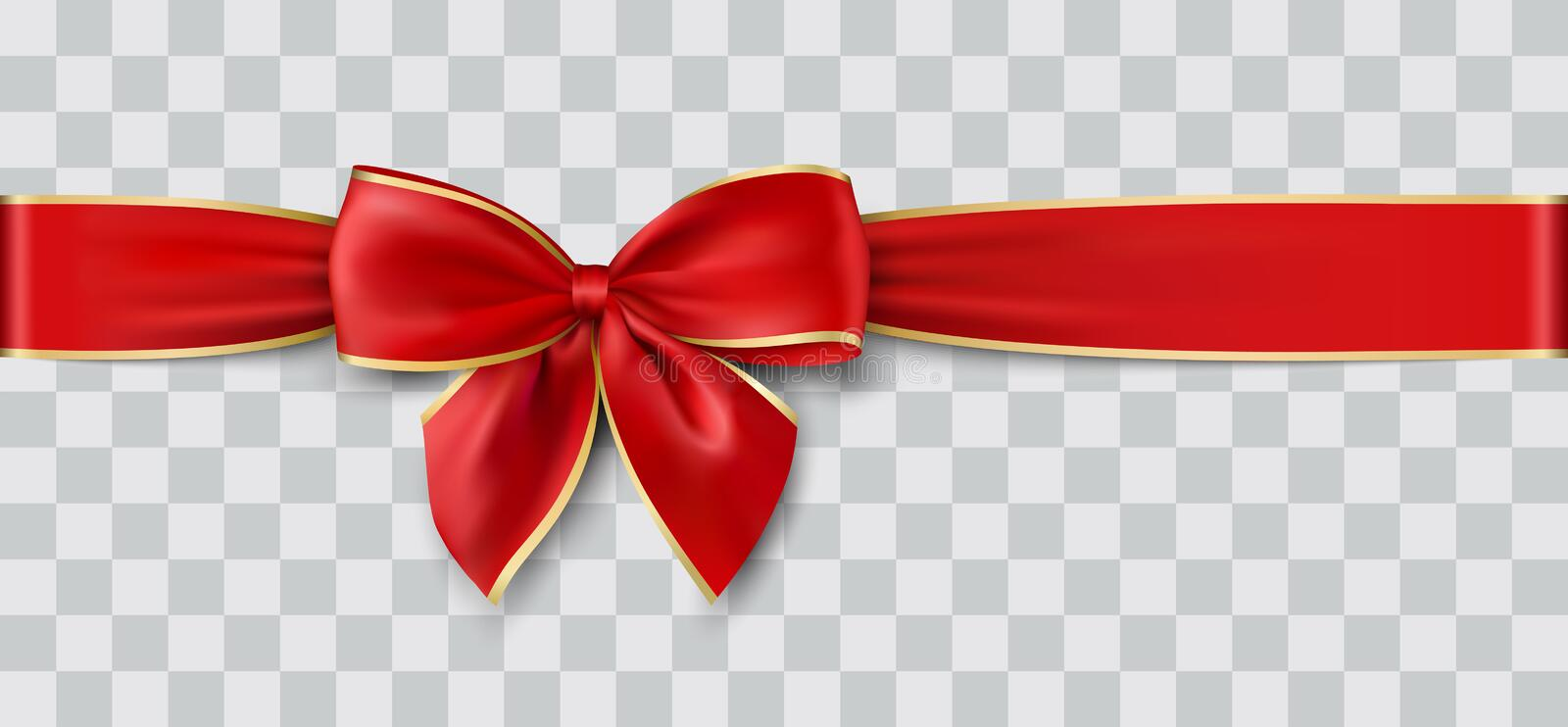 Red ribbon and bow with gold, vector illustration. Red ribbon and bow with gold for Christmas, vector illustration royalty free illustration