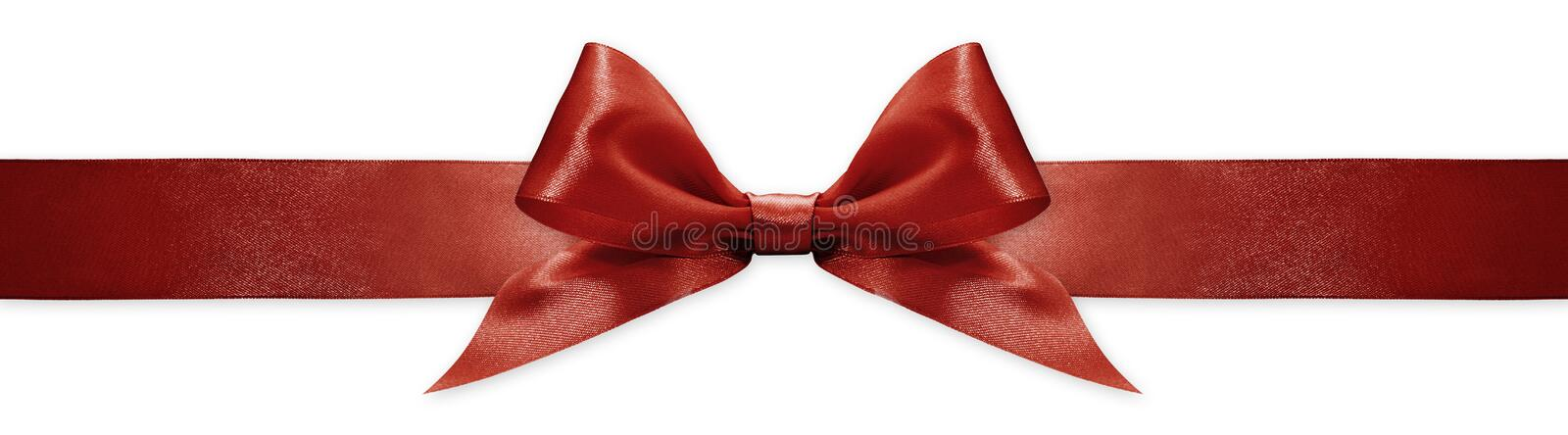 Red ribbon bow isolated on white background, for event or gift package royalty free stock photos