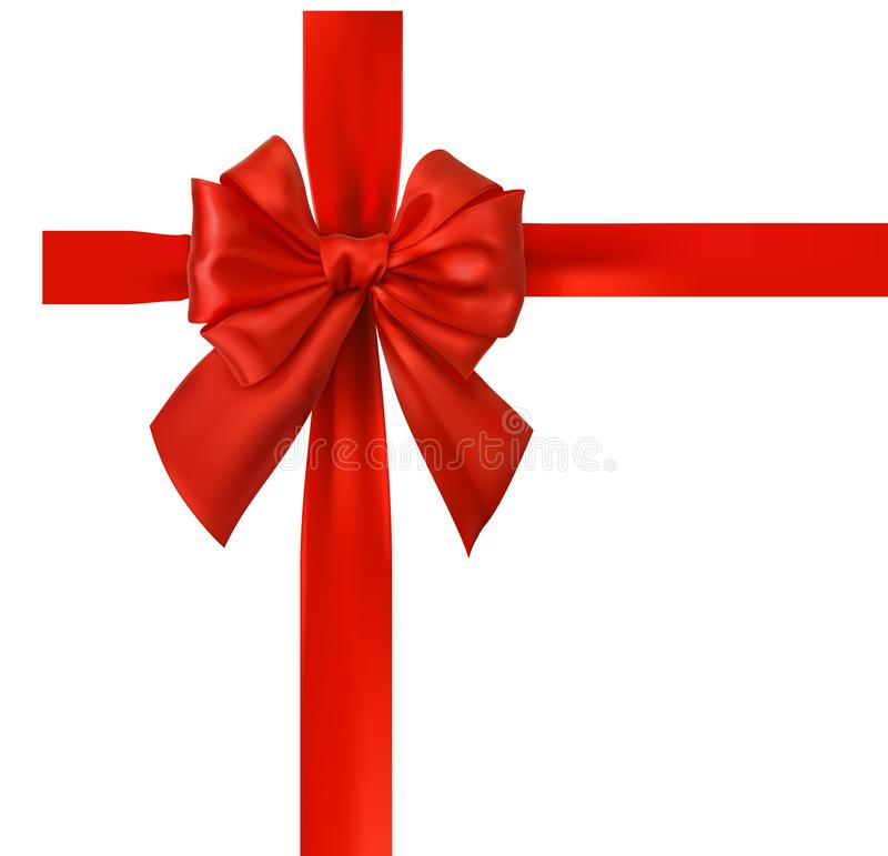 Red ribbon with bow isolated on white. stock illustration