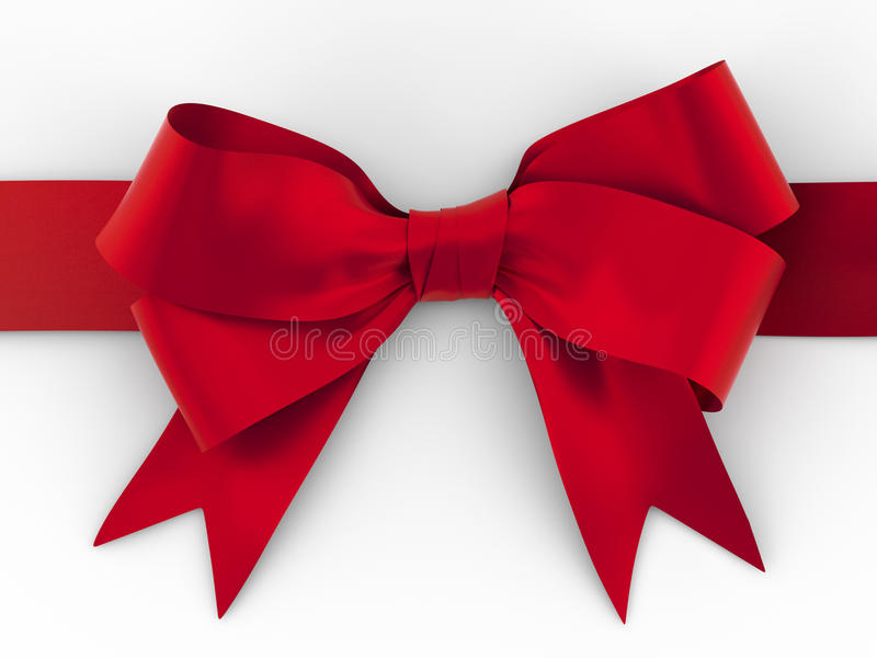 Red ribbon with bow with tails with clipping path. Red ribbon with bow with tails on white background royalty free illustration