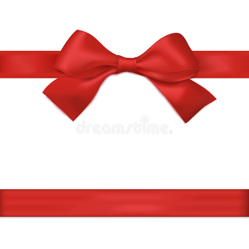 Red ribbon with bow. Vector stock illustration