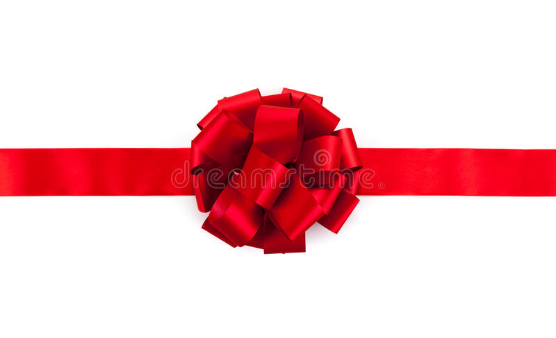 Red ribbon with a bow. On a white stock image