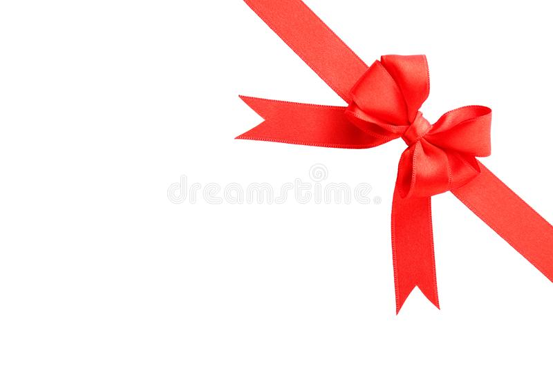 Red ribbon with bow on white background royalty free stock images