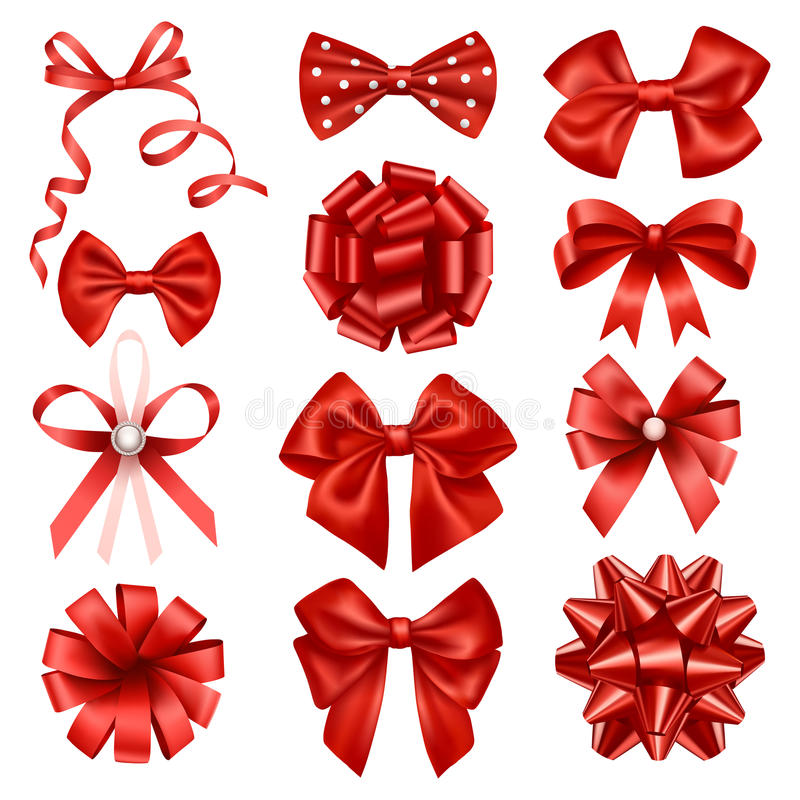 Red ribbon bows. Set of isolated vector red decorative ribbon bows vector illustration