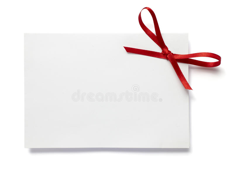 Red ribbon card note stock photography