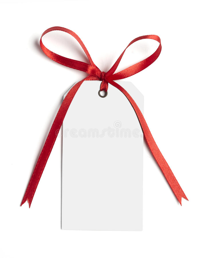 Red ribbon card note royalty free stock photo