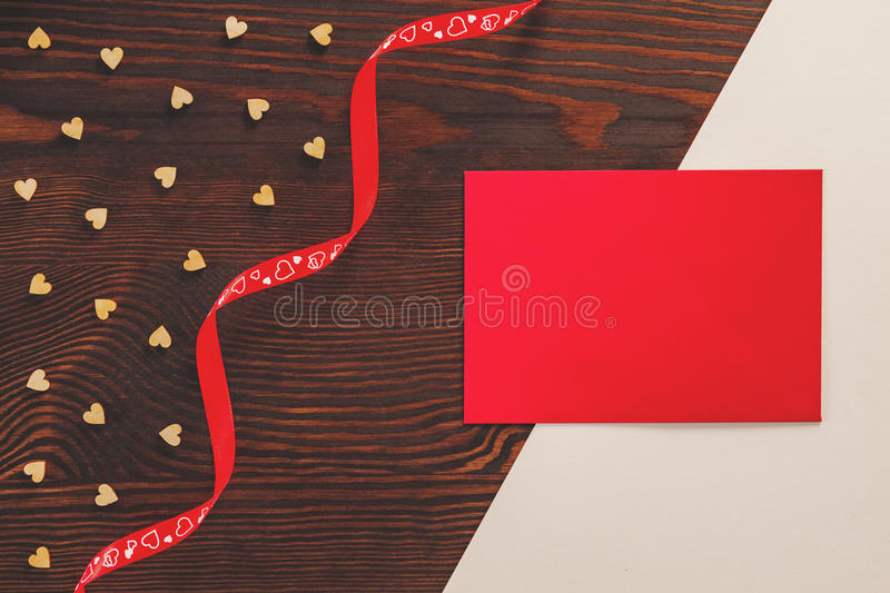 Red ribbon and card royalty free stock image