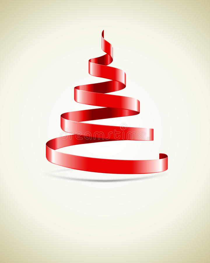 Red ribbon Christmas tree royalty free illustration